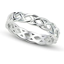 925 Sterling Silver Celtic Knot Eternity Band Ring