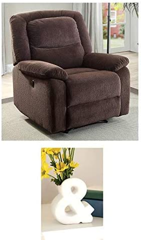 Push-Button Recliner Chair with Neck Pillow Brown