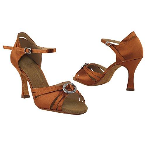 """Gold Taube Schuhe 50 Shades Of Tan Tanzschuhe, Komfort Abendkleid Hochzeit Pumps: Ballroom Schuhe für Latein, Tango, Salsa, Swing, Kunst von Party Party (2,5 """"& 3"""" Heels) 1154- Dunkelbraun Satin"""