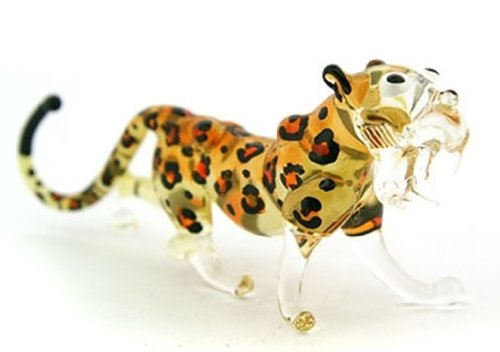 Lampwork COLLECTIBLE MINIATURE HAND BLOWN Art GLASS Cheetah Tiger, size S - Head Hut Office Sunglass