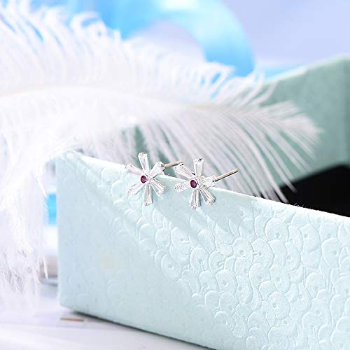 Topdo Stud Earringss Snowflake Earringss Simple Jewelry Gift for Women Girl 1 Pair