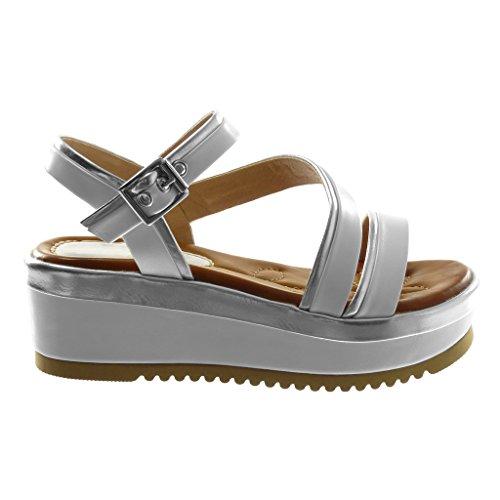 Femme Mode Multi Talon Lanière Métallique Plateforme Sandale cm Compensé Bride Bicolore Angkorly Plateforme Blanc Mule 6 Cheville Chaussure Fxqw0H