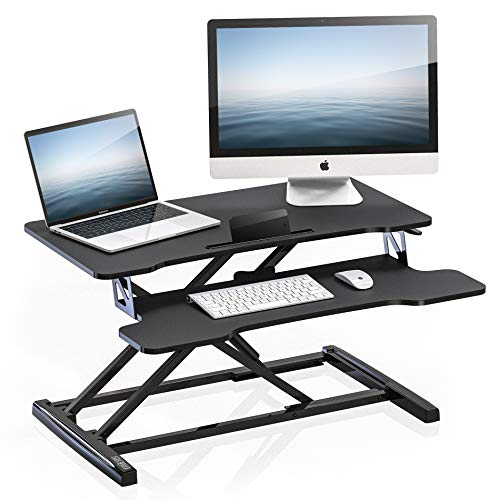 "FITUEYES Height Adjustable Standing Desk 32"" Wide Sit to Stand Converter Gas Spring Riser Desk Tabletop Workstation for Dual Monitor Riser SD308001WB"