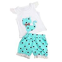 Fabal Summer Baby Girls Clothing Set Children Bow Cat Shirt+Shorts Clothes Set Suit (2T, Blue)