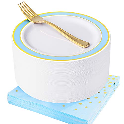NERVURE Blue with Gold Disposable Plates Napkins Set 150 PCS: Include 50 Dessert Plates,50 Gold Forks, 50 Napkins,Wedding Party Plastic Plates,Fancy Salad Plates and Appetizer Plates for all Holiday.]()