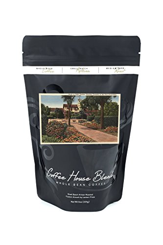 View of the Mission, Patio Gardens (8oz Whole Bean Small Batch Artisan Coffee - Bold & Strong Medium Dark Roast w/Artwork)