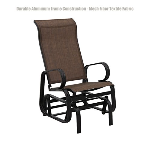 Patio Furniture Outdoor Indoor Glider Bench Durable Aluminum Frame Construction Swing Rocking Mesh Fiber Textile Fabric Seat Porch Pool Garden Chair - Brown #1411 (Wooden Garden Elizabeth Port Furniture)