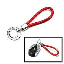 iJDMTOY (1) Red Braided Leather Strap Keychain w/ 2 Key Rings For Car Key, Key Fob, House Keys