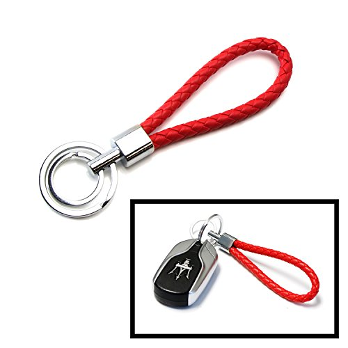ded Leather Strap Keychain w/ 2 Key Rings For Car Key, Key Fob, House Keys (Infinite Braid Ring)