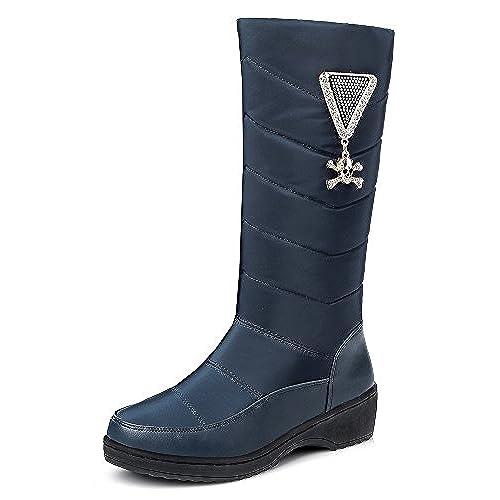 Women's Trendy Platform Round Toe Mid Calf Skull Rhinestones Low Heel Pull On Boots