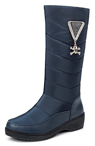 SFNLD Women's Trendy Platform Round Toe Mid Calf Skull Rhinestones Low Heel Pull On Boots Blue 7 B(M) US by SFNLD