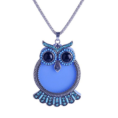 Lureme Cute Beads Jewelry Silver Tone Sky Blue Color Big Eyed Owl Pendant Necklace for Girls (Big Sky Silver Jewelry)