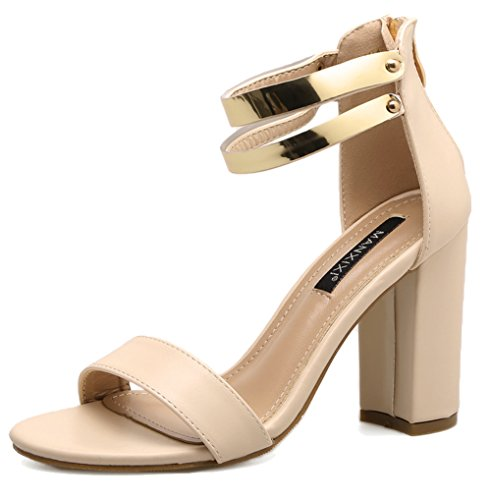Easemax Womens Trendy Ankle Metal Strap Open Toe High Chunky Heel Sandals Beige tAcqICI7i