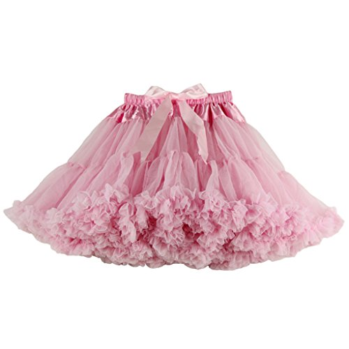 Buenos Ninos Women's Chiffon Petticoat 2 Layered Ballet Dance Pettiskirt Mini skirt Pink