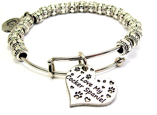 Chubby Chico Charms I Love My Cocker Spaniel Heart Metal Beaded Expandable Wire Bangle, 2.5