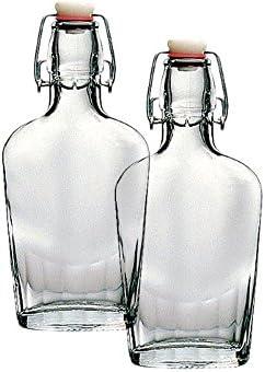Set of 2 Bormioli Rocco Fiaschetta Glass 8.5 Ounce Pocket Flask