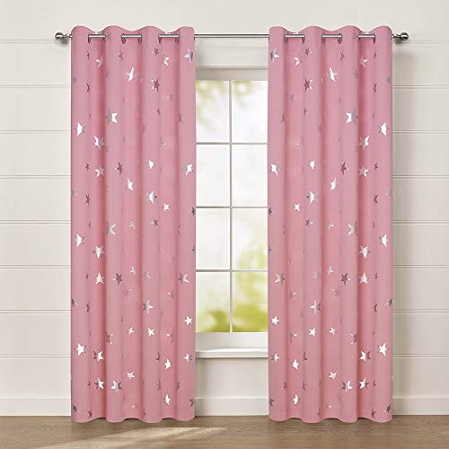 (Anjee Cute Pink Blackout Curtains for Girls' Bedroom, Silver Star Print Thermal Insulated Window Curtains, 52 x 84 Inches, 2 Panels, Baby Pink )
