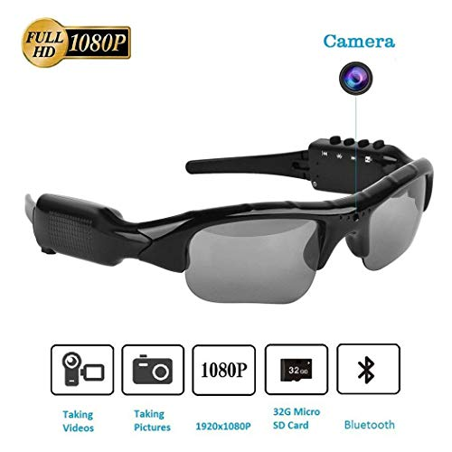 Kizaen Camera Glasses,Bluetooth Sunglasses Camera Full HD 1080P with Wide Angle Mini Camera for Outdoor Sports