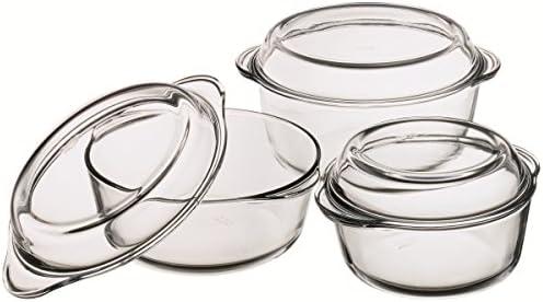 6 tlg. Juego de fuentes de aluminio resistente al calor de vidrio: Amazon.es: Hogar