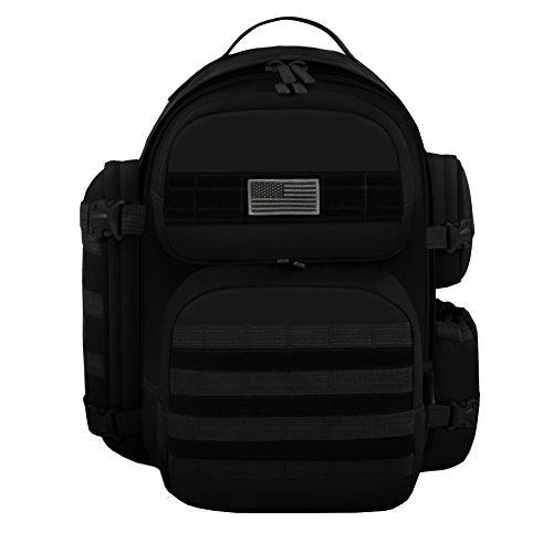East West U.S.A RT515 Tactical Molle Sport Military Assault Expandable Trekking Bag, Black