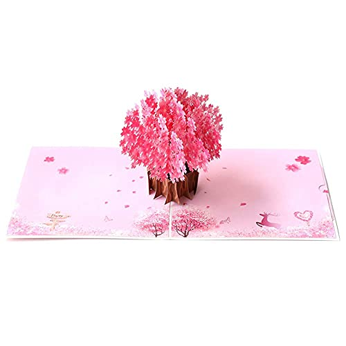 Cherry Blossom Pop Up Card, Bohang Wedding Anniversary Popup Card Greeting Card for Her on Mothers Day, Valentine, Birthday, Anniversaries, Wedding