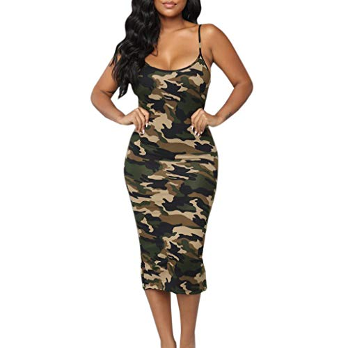 Euone Dress Clearance, Women Sleeveless Strappy Camouflage Clubwear Bodycon Evening Party Dress