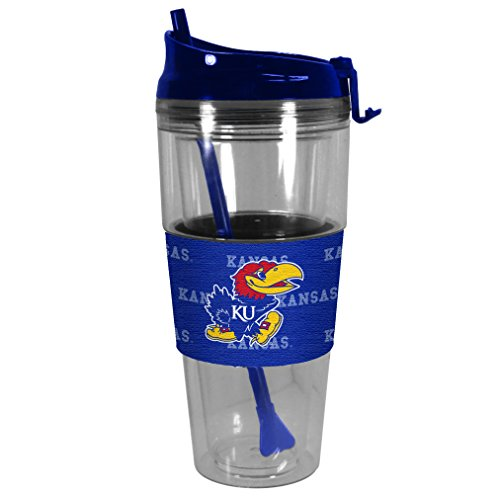 Boelter Brands NCAA Kansas Jayhawks Premium Tonal Straw Tumbler, 28-ounce