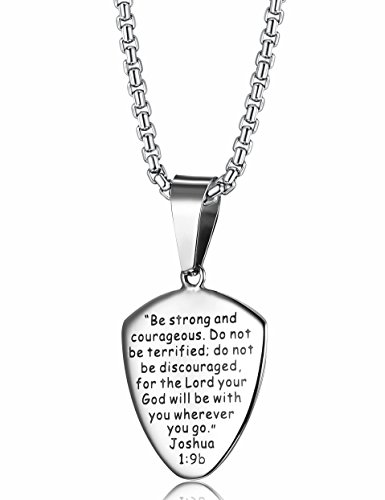 Loyallook stainless steel shield of faith engraved joshua 19b armor loyallook stainless steel shield of faith engraved joshua 19b armor of god cross pendant necklace aloadofball Images