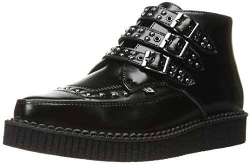 Boot Pointed Buckle K Leather T Creeper Black Shoes U Men's 3 Studded wFxwqzRPa