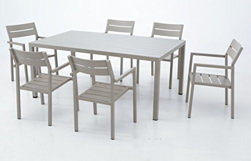 Conjunto de terraza lamas aluminio champagne Sand: Amazon.es ...