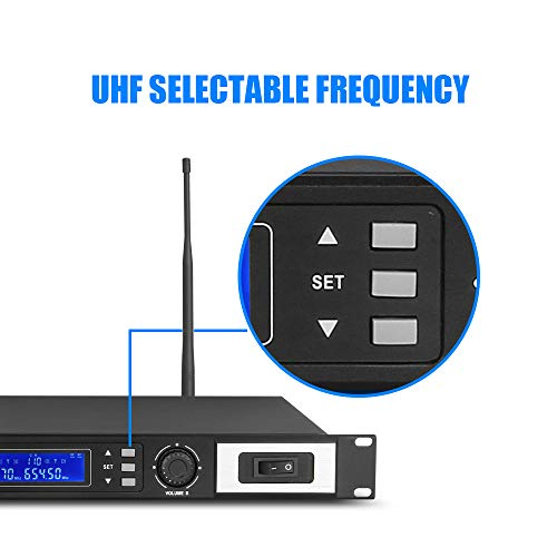802 Selectable Channel Wireless Microphone System with 2 Handheld Cordless Mic Professional YAHAMA ES Series OK-06!! Good Sound Adjustable Frequency System!!