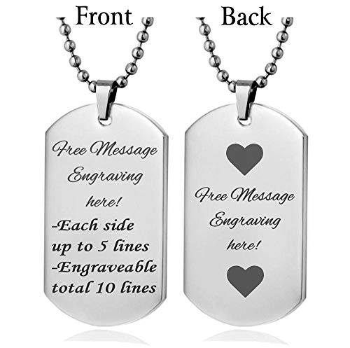 Interway Trading Personalized Regular Size Custom Message Engraved Stainless Steel Necklace Dog Tag Pendant with 24 inch Chain,Velvet Giftpouch and Keyring (Rectangular Silver) -