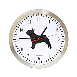 Bjerg Instruments French Bulldog Modern 12 Stainless Silent Wall Gift Clock