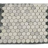 BIANCO WHITE CARRARA MARBLE HEXAGON 1 POLISHED MOSAIC TILE by Marble 'n things