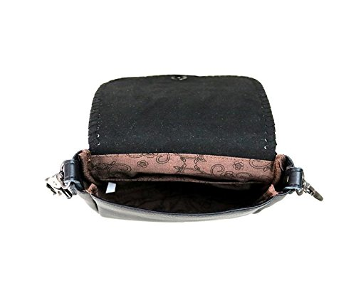 with Bag Black Leather Messenger West Real Cross Montana Flap Tassel Body Purse AqzHOaTx