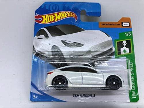 2019 Hot Wheels Tesla Model 3 White 1 5 Hw Green Speed 174 250 Short Card Amazon Co Uk Toys Games