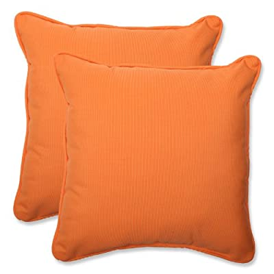 Pillow Perfect Indoor/Outdoor 18.5-inch Throw Pillow (Set of 2) with Sunbrella Canvas Tangerine Fabric, 18.5 in. L X 18.5 in. W X 5 in. D - Includes two (2) outdoor pillows, resists weather and fading in sunlight; Suitable for indoor and outdoor use Plush Fill - 100-percent polyester fiber filling Edges of outdoor pillows are trimmed with matching fabric and cord to sit perfectly on your outdoor patio furniture - living-room-soft-furnishings, living-room, decorative-pillows - 41sZjCkGmwL. SS400  -