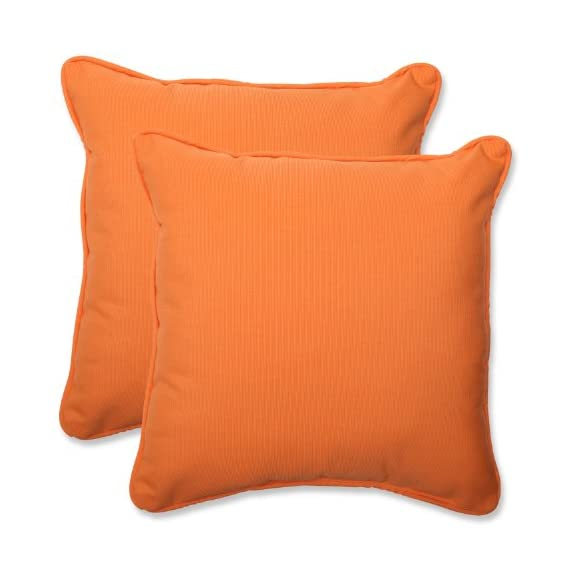 Pillow Perfect Indoor/Outdoor 18.5-inch Throw Pillow (Set of 2) with Sunbrella Canvas Tangerine Fabric, 18.5 in. L X 18.5 in. W X 5 in. D - Includes two (2) outdoor pillows, resists weather and fading in sunlight; Suitable for indoor and outdoor use Plush Fill - 100-percent polyester fiber filling Edges of outdoor pillows are trimmed with matching fabric and cord to sit perfectly on your outdoor patio furniture - living-room-soft-furnishings, living-room, decorative-pillows - 41sZjCkGmwL. SS570  -