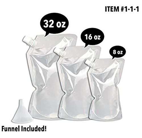 Cruise Cooler Plastic Flasks: Reusable, Leakproof, Take Your Alcohol Anywhere! 6 Piece Kit (2x8oz + 2x16oz + 2x32oz) + FUNNEL ()