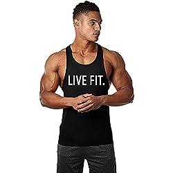 Huiyuzhi Mens LIVE FIT Workout Fitness Gym Tank Tops (L, Black)