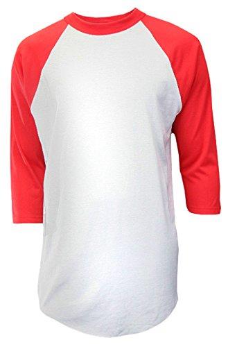 - Soffe Mens Classic Raglan 3/4 Sleeve T-Shirt White/Red 2XL