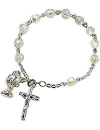 Catholic Girls First Communion Rosary Bracelet, 7 Inch