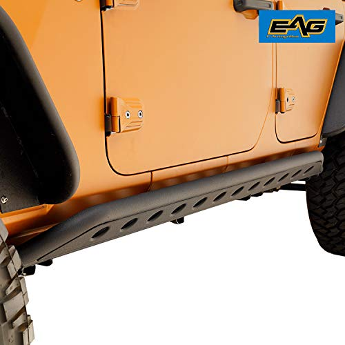 EAG Tubular Round Hole Rock Sliders for 18-19 Jeep Wrangler JL 4 Door