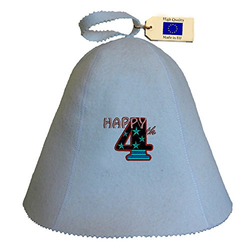 Allforsauna Sauna Hat Russian Banya Cap 100% Wool Felt Modern Lightweight Head Protection for Men and Women | Happy 4