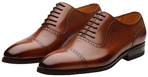 Dapper Shoes Co. Handcrafted Genuine Leather Men's Classic Brogue Oxford Wing-Tip Lace up Leather Lined Oxfords Shoes Brown outlet pick a best low shipping online sale release dates 8GJypXi8