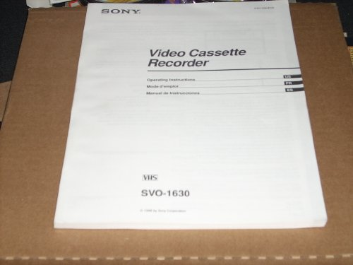 (Sony SVO-1630 Video Cassette Recorder Operating Instructions Manual)