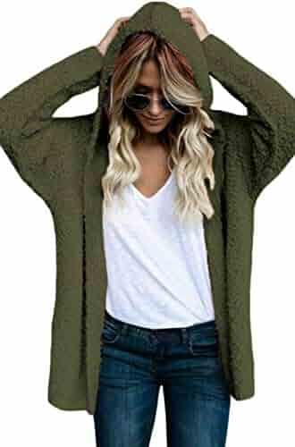 7bca1f1fed Happy Sailed Women Long Sleeve Oversized Open Front Fuzzy Fleece Coat Jacket  Warm Hooded Cardigan S
