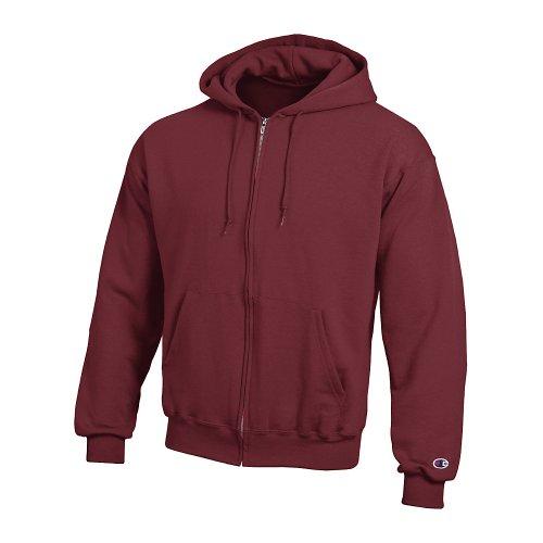 Champion Double Dry Action Fleece Full Zip Hood, Maroon, S