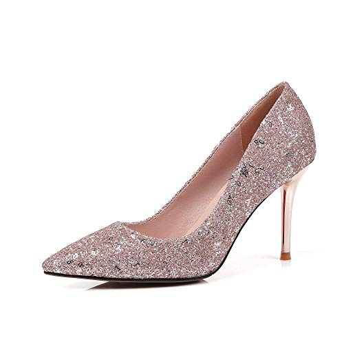 Nahka Glitter Häät Nineseven Naisten Käsintehty Supre Pumput Kengät 5 4 Korkea Piikkikorko Vaaleanpunainen Teräväkärkiset wazq15dxZz