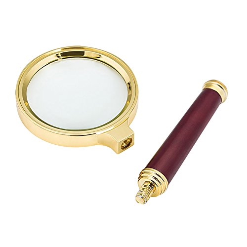 Magnifier Glass Made Handheld Magnifying Glass with 5X Illuminated Loupe Lens Detachable Red Wooden Handle for Seniors Reading Book Page Maps Hobbies Great Tool for Visual Impairment by LONTG (Image #2)